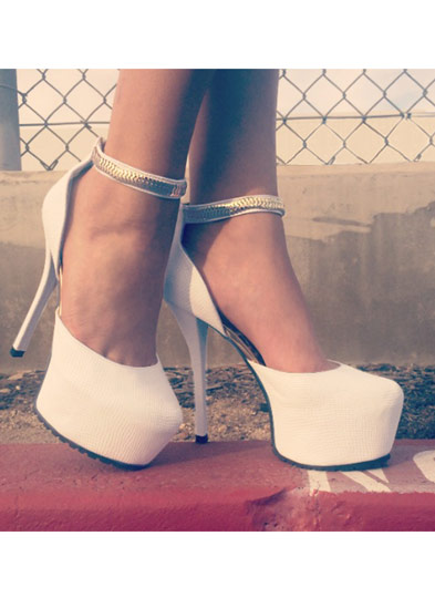Snake On It Chain Strap Platforms WHITE
