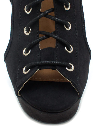 Shutter Up Lace-Up Bootie Wedges BLACK