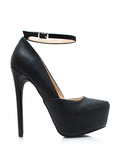 Rough You Up Ankle Strap Pumps BLACK (Final Sale)