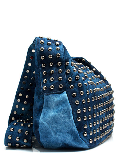 Bleach Stud Denim Messenger Bag DKBLUE