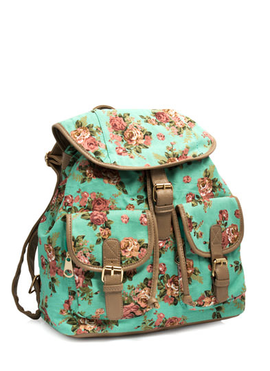 Roses Are Ready Canvas Backpack MINT