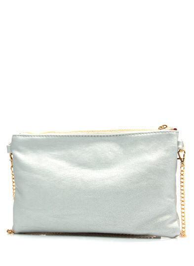 Squared Away We Go Studded Clutch SILVER