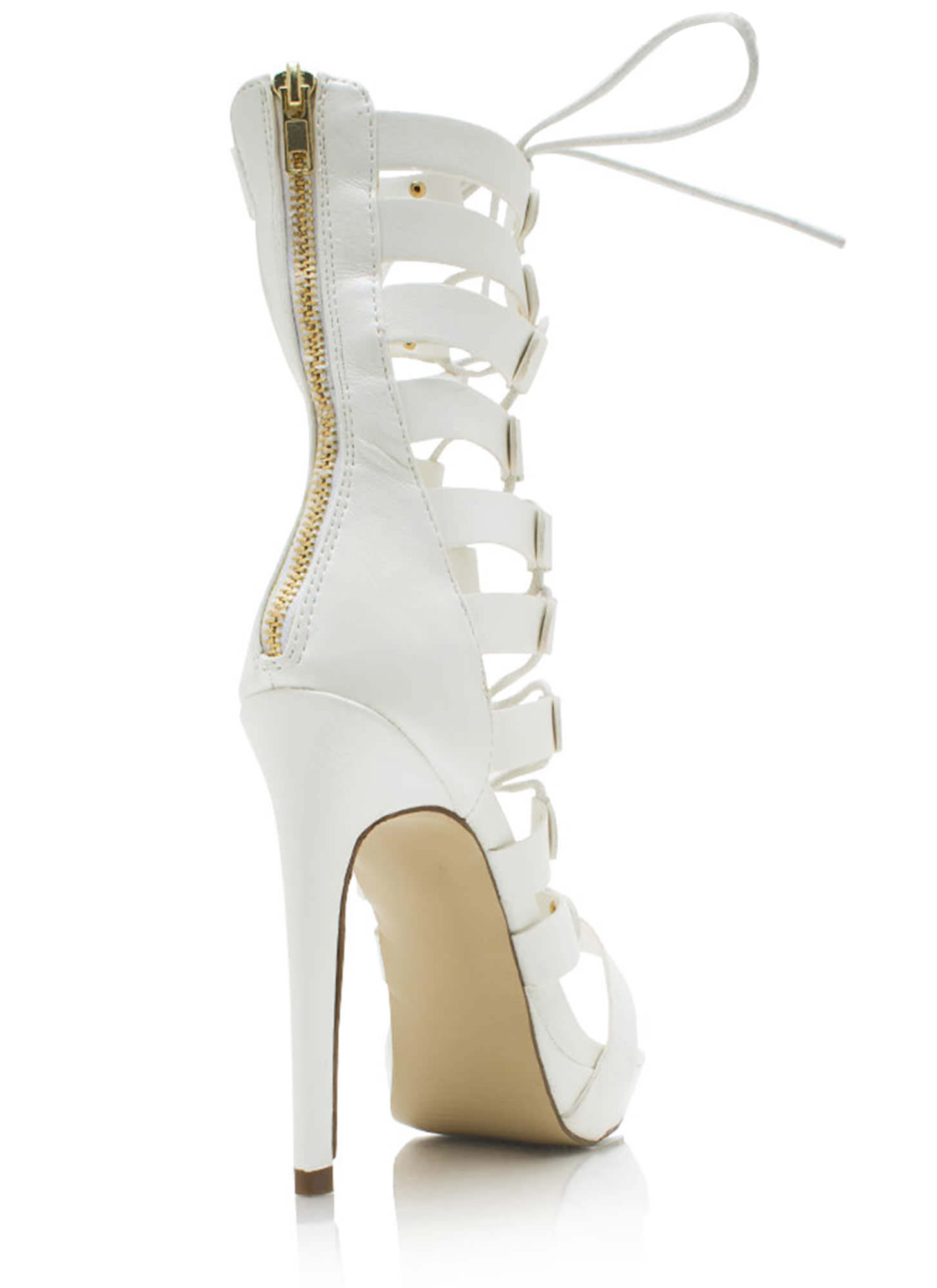 Lace-Up Gladiator Heels WHITE