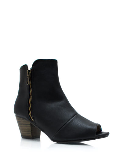 Zipped Away Peep-Toe Ankle Boots BLACK