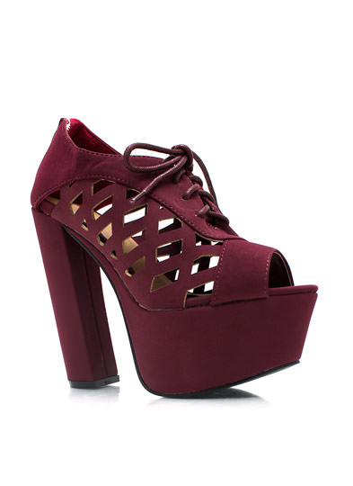 Feel My Pane Chunky Platforms BURGUNDY