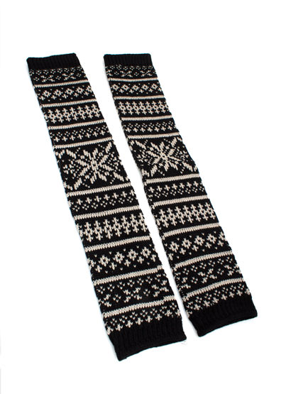Fair Isle Knit Leg Warmers BLACKGREY