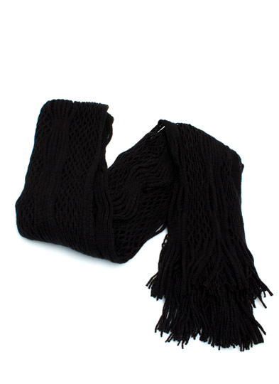 Netted Tube Knit Scarf BLACK (Final Sale)