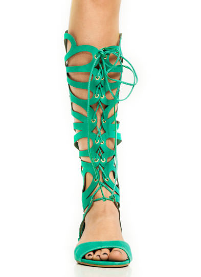 Faux Nubuck Butterfly Gladiator Sandals TEAL
