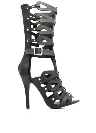Tear It Up Gladiator Heels BLACK