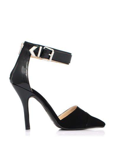 Mixed Media Single Buckle Heels BLACKBLACK
