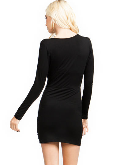 Ruched Surplice Tulip Dress BLACK
