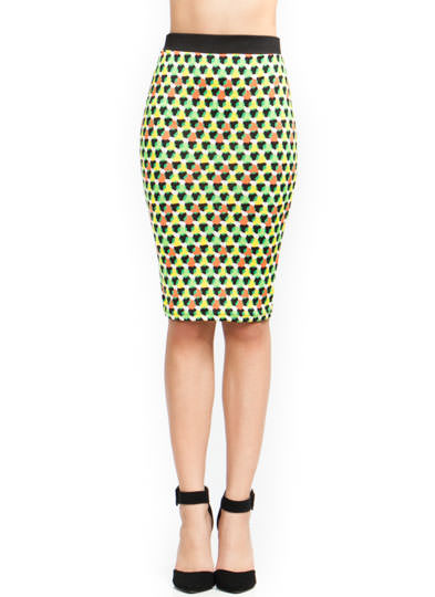Hex Appeal Pencil Skirt GREENORANGE