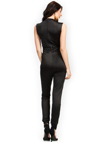 Sheer Thing Jogger Jumpsuit BLACK