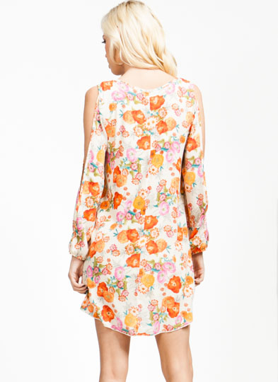 Floral Blossom Shift Dress PINKORANGE