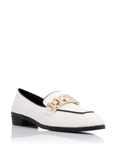 Watch Your Step Patent Loafers WHITE