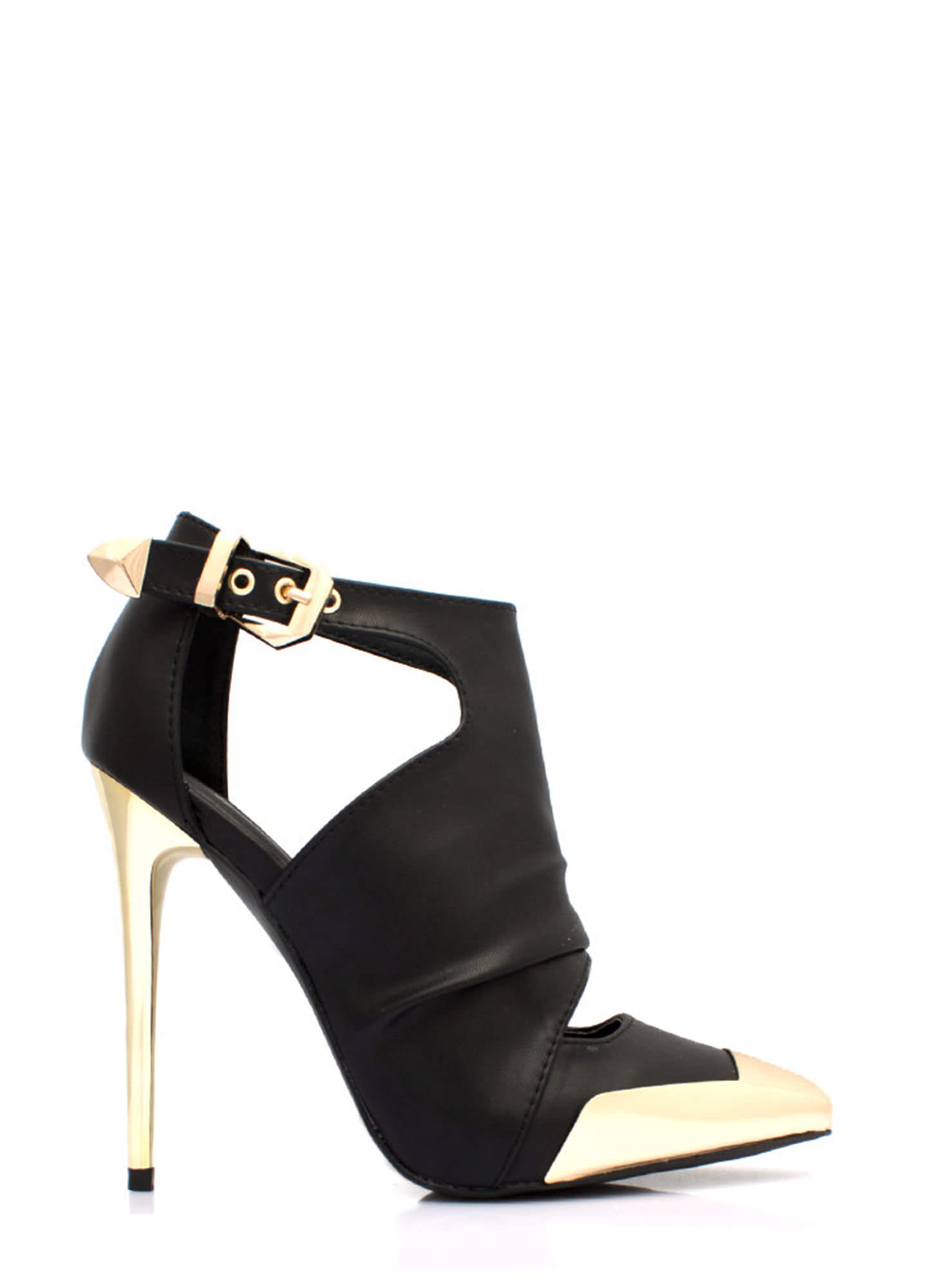 Metal Accent Cut-Out Booties BLACK