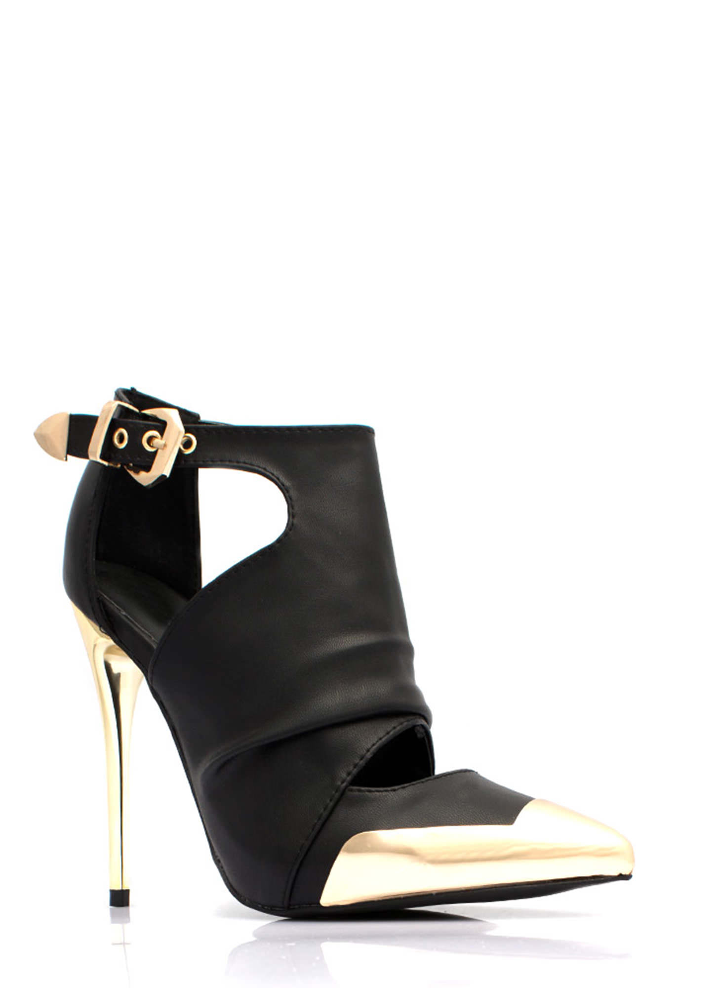 Metal Accent Cut-Out Booties BLACK (Final Sale)