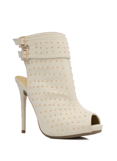 Allover Studded Cut-Out Bootie BEIGE