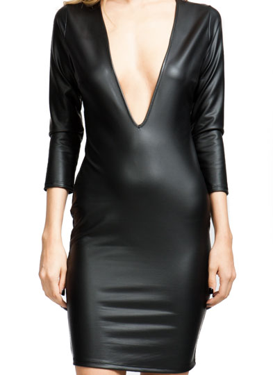 V Yourself Slick Plunging Dress BLACK