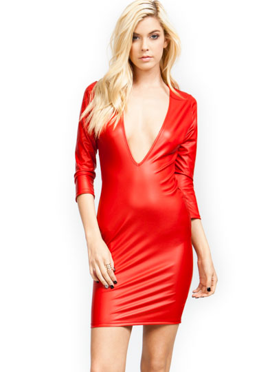 V Yourself Slick Plunging Dress RED