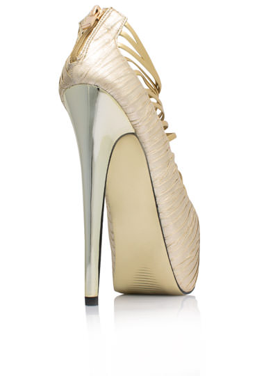 Strappy-Go-Lucky Crinkled Metallic Heels GOLD