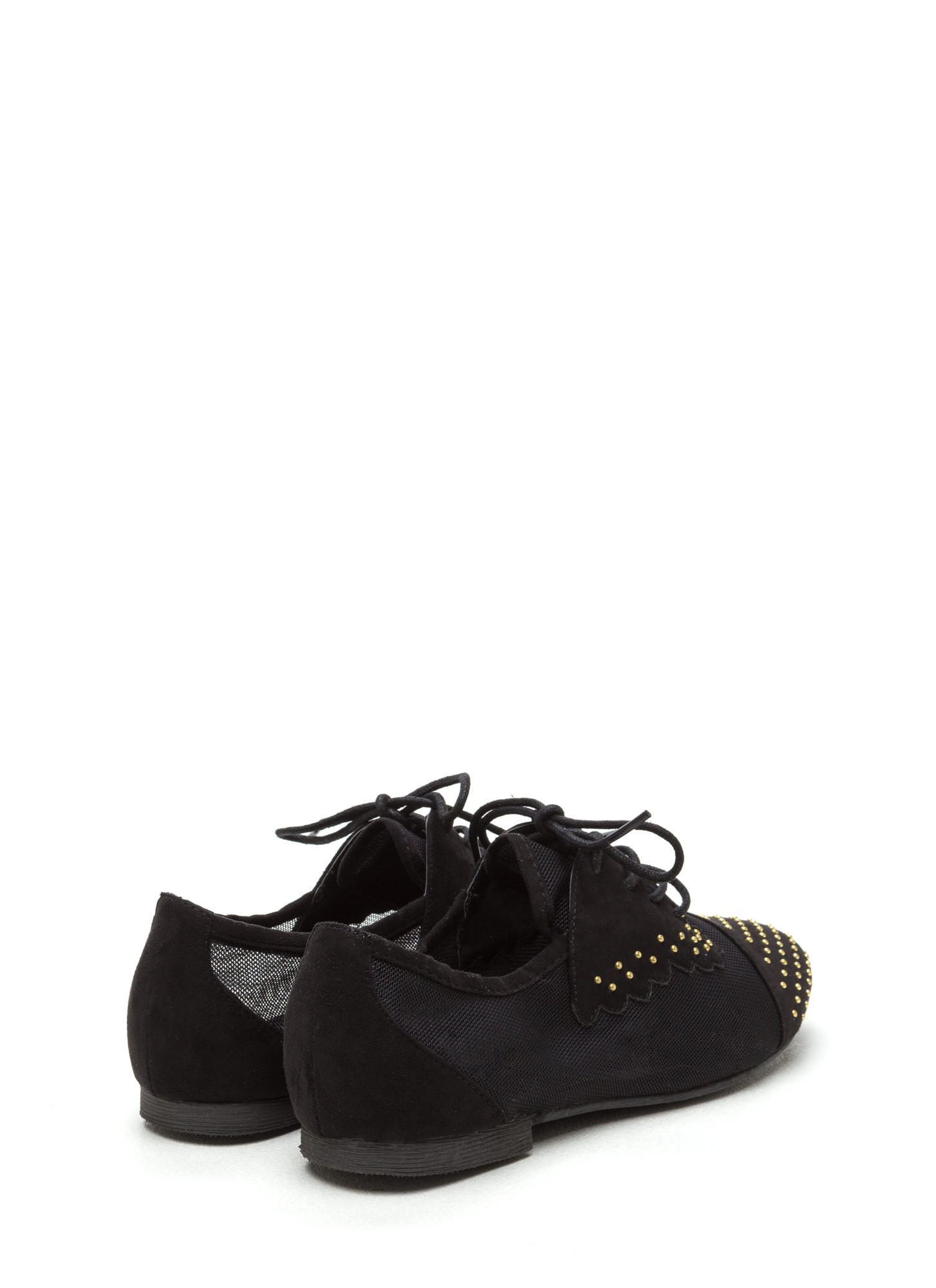 Mesh-Behaving Studded Lace-Up Flats BLACK