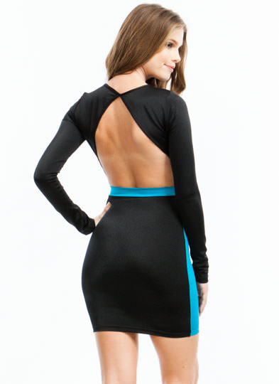 Open Back Colorblock Dress TEAL