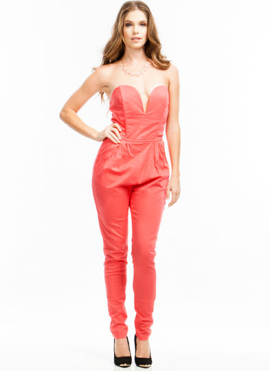Revenge Is Sweetheart Jumpsuit CORAL