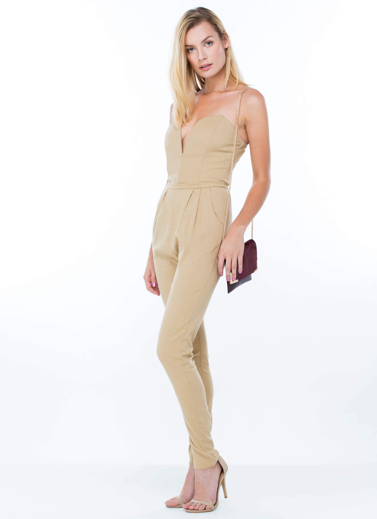 Revenge Is Sweetheart Jumpsuit TAUPE