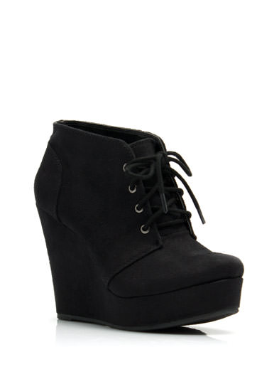 Faux Suede Platform Wedge Booties BLACK