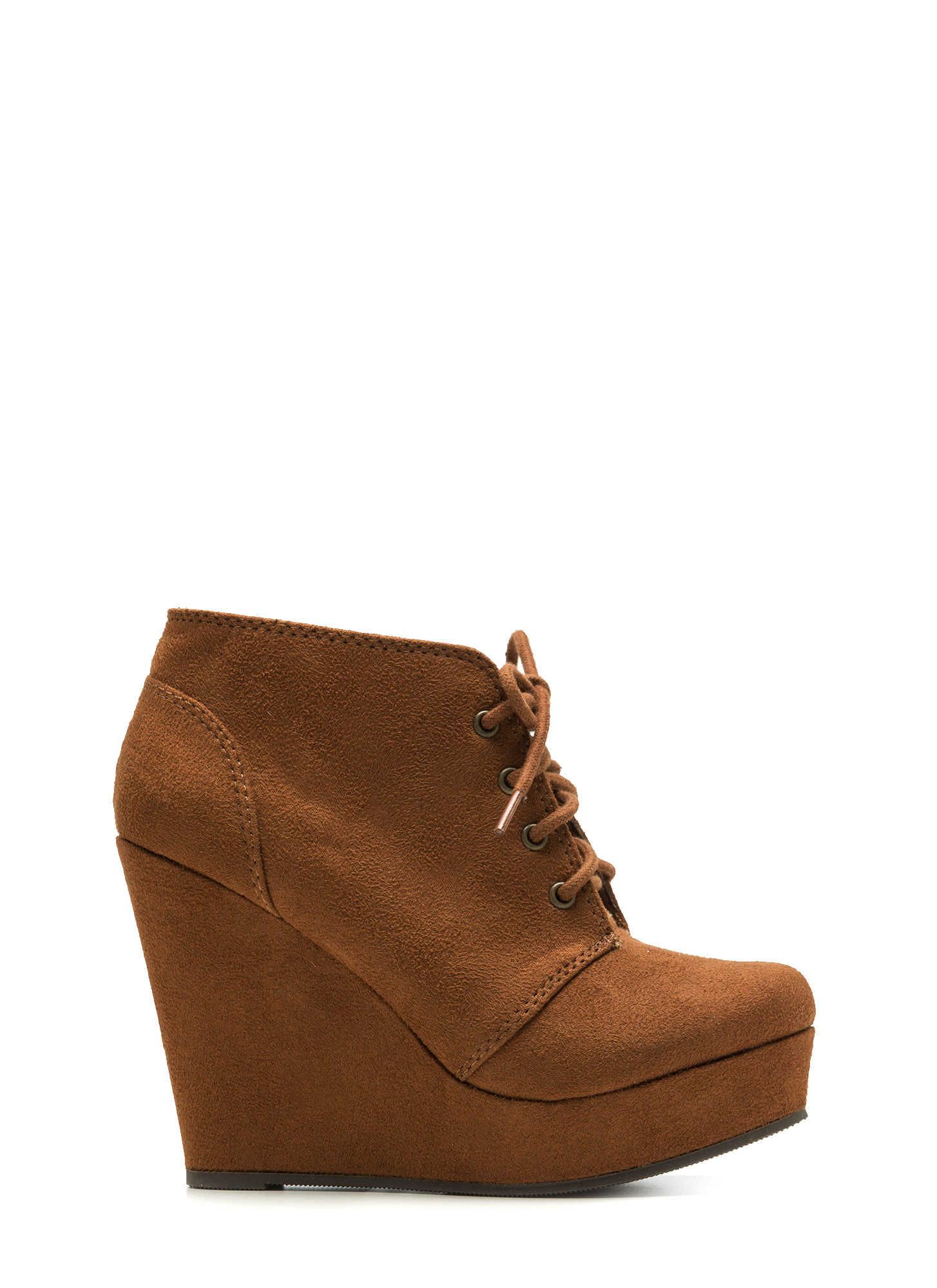 Faux Suede Platform Wedge Booties HAZELNUT