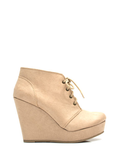 Faux Suede Platform Wedge Booties OATMEAL