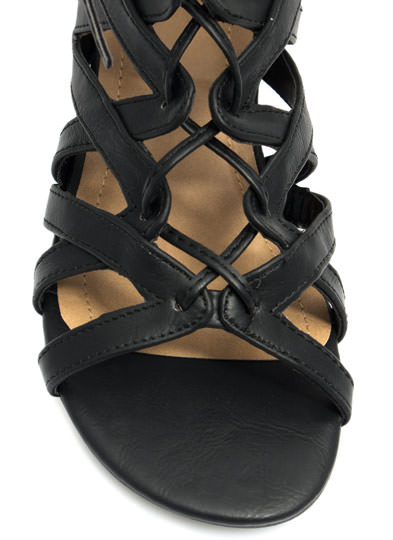 V Yourself Strappy Cut-Out Sandals BLACK