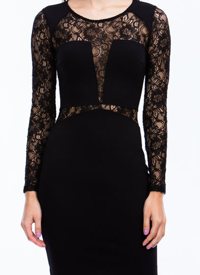 Living Lacy Bodycon Dress BLACK