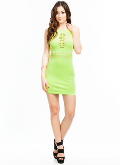 Twisted Sista Bodycon Dress CITRON