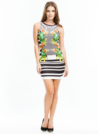 Tropical Dream Bodycon Dress BLACKWHITE