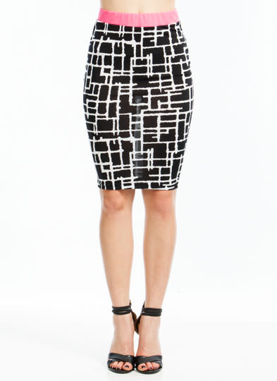 Blurred Lines Trimmed Pencil Skirt BLACKPINK