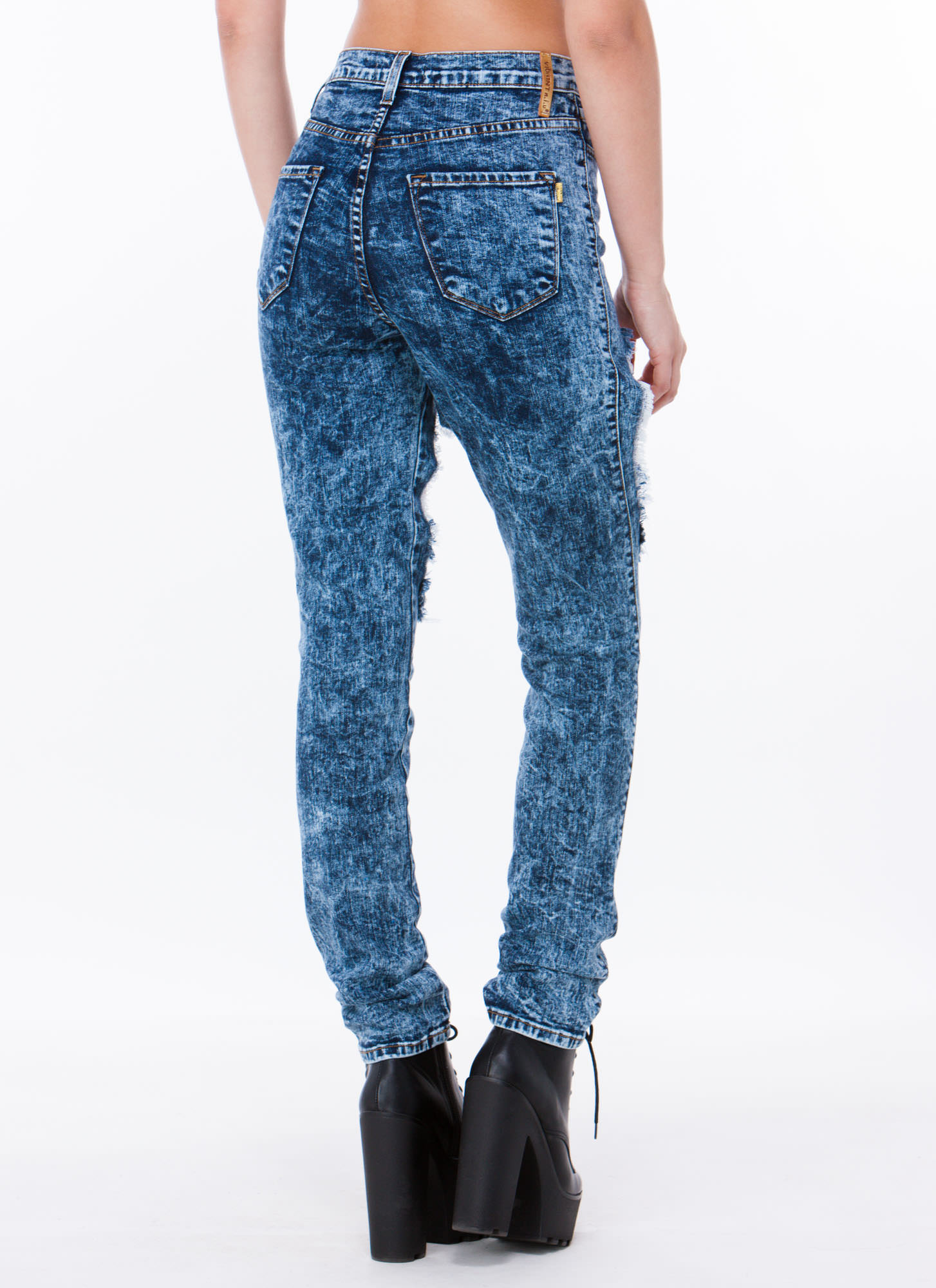 Hole Lotta Leg Acid Washed Jeans DKBLUE