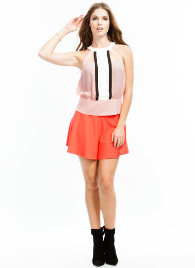 Colorblocked Pintuck Blouse PEACH