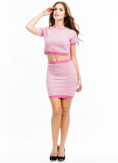 Seed Knit Cropped Sweater PINK
