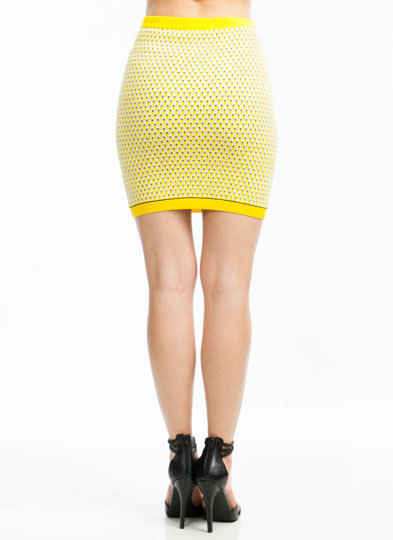 Seed Knit Sweater Skirt YELLOW