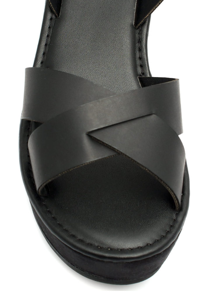 Crossroad Platform Wedges BLACK