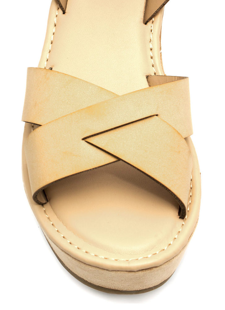 Crossroad Platform Wedges NUDE