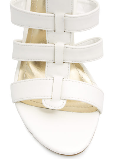 Tri-Strap Sandal Wedges WHITE