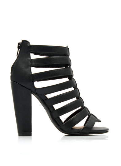 Strap Attack Chunky Heels BLACK