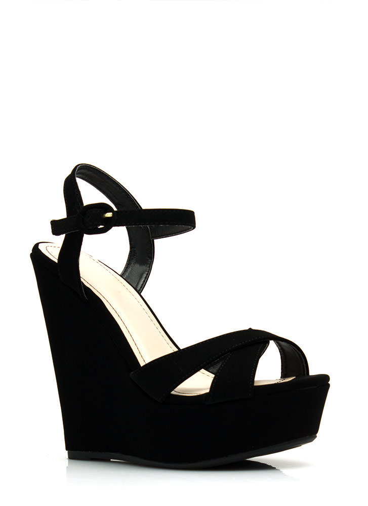 Let's Get Basic Crisscross Wedges BLACK
