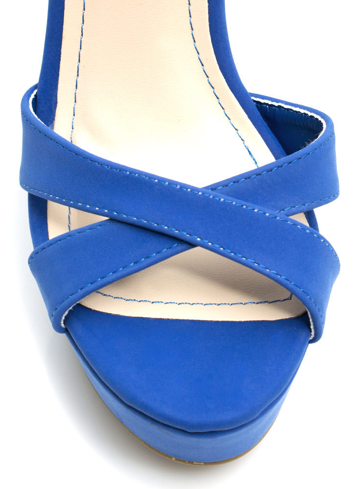 Let's Get Basic Crisscross Wedges BLUE