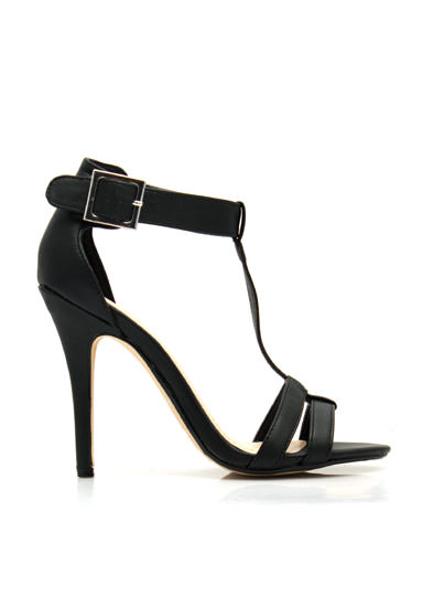 Fit Two A T Ankle Strap Heels BLACK