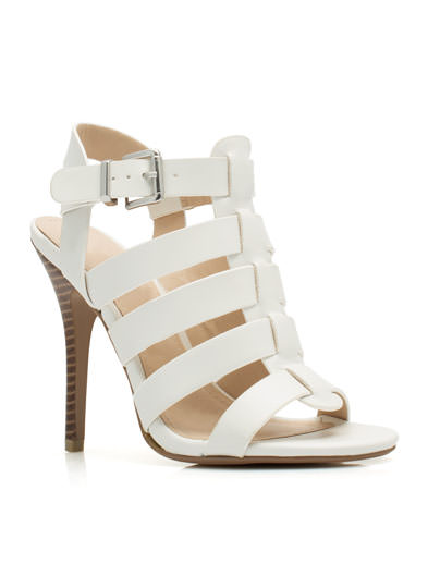 Just Strap It Open-Toe Heels WHITE