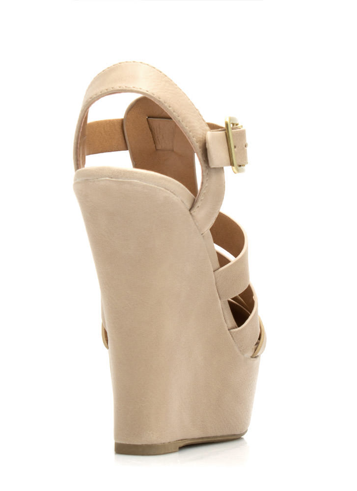Granola Girl Buckled Wedges BEIGE